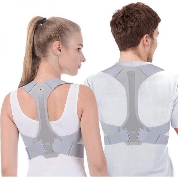 Correcteur de posture médical gris avec une femme et un homme de dos