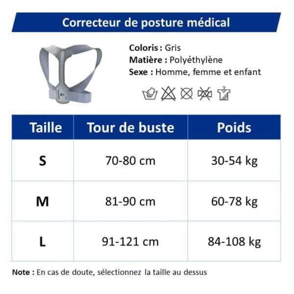 Guide des tailles correcteur de posture médical