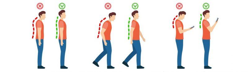 Comparatif d'une mauvaise posture contre une bonne posture