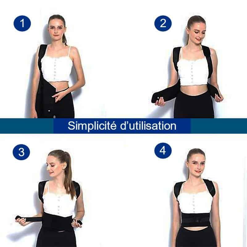 Etapes d'utilisation du correcteur de posture magnétique