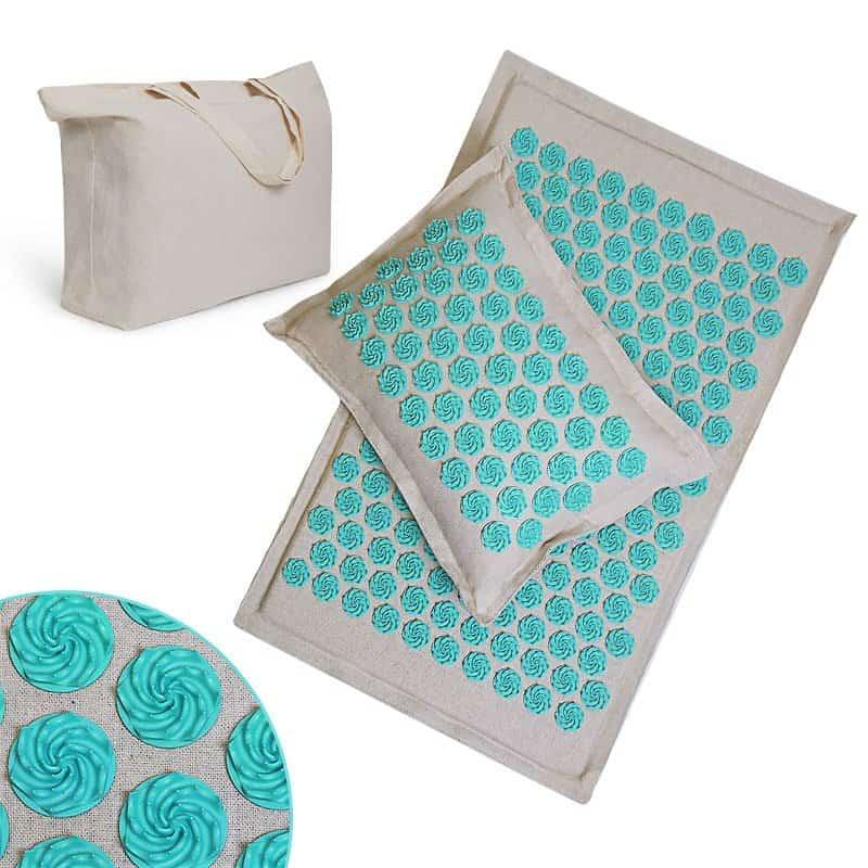 Tapis d'acupression champ de fleurs coloris turquoise