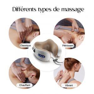 Différents types de massage du coussin de massage chauffant, vibrant, pétrissant