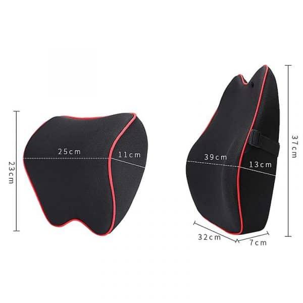 Dimensions du coussin orthopédique lombaire pour voiture