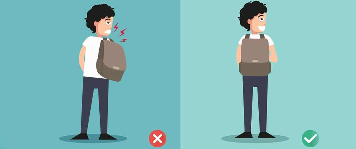 Schema pour expliquer comment un enfant doit porter son sac a dos