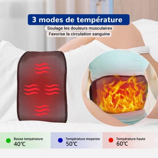 Ceinture chauffante pour les lombaires avec 3 modes température