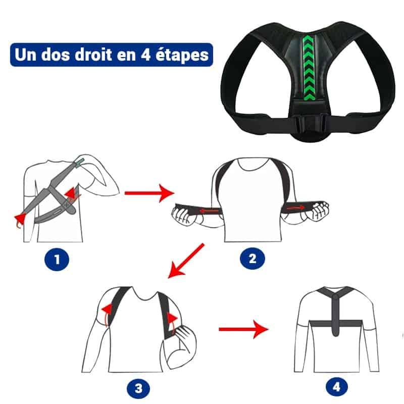 Etapes dutilisation du correcteur de posture pour le dos