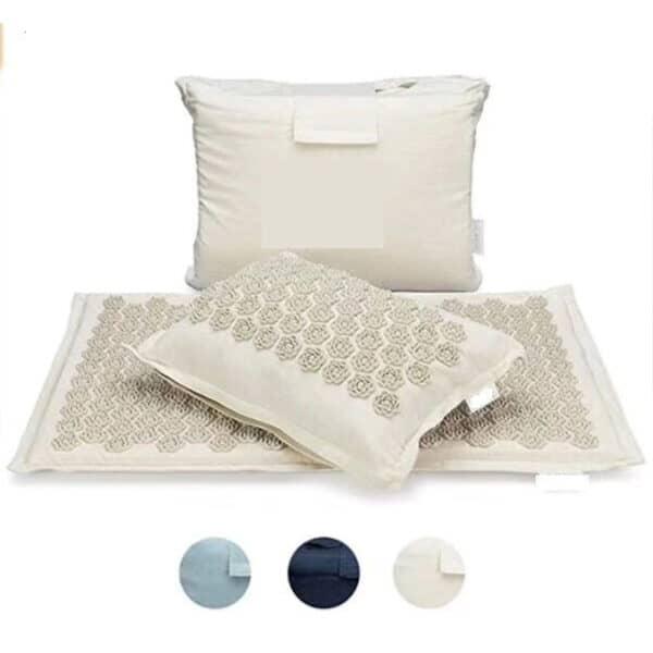 Tapis d'acupuncture coloris crème blanc